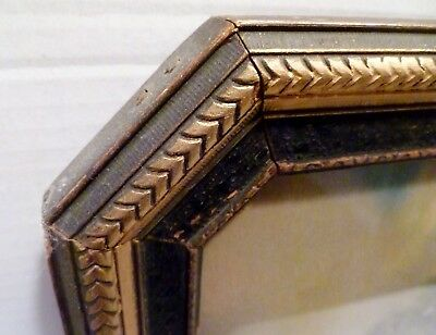 VICTORIAN ANTIQUE Carved Wood OCTAGON WALL FRAME w/Glass LANDSCAPE PRINT