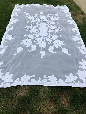 Vintage White ORGANDY MADERIA EMBROIDERY HAND STICH Tablecloth 10 Napkins LOVELY