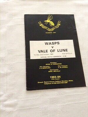 Rugby Union Programme Wasps V Vale Of Lune 2nd October 1983