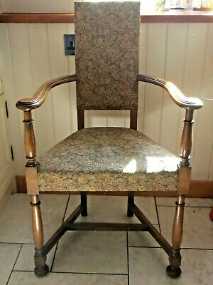 Unusual Antique Oak Arm Chair, Arts And Crafts? Bun Feet, Scrolled Arms