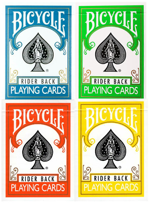 Bicycle Rider Back Playing Card 4 Deck Color Collection - Poker Size - USPCC