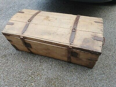 LOVELY ANTIQUE WOODEN CAVALIER'S DOME TOP TRUNK CHEST - genuine over 100yrs old.