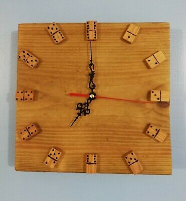 Hand Made Rustic Domino Wooden Wall Clock
