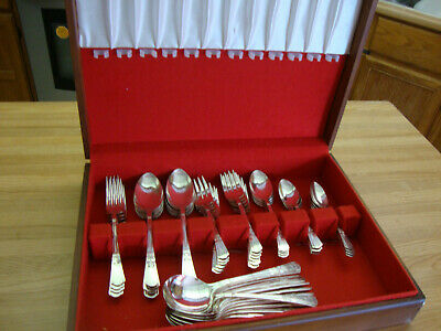 52 Piece Epns Court Silverplate 1939 By By Court Flatware Set With Wood Case