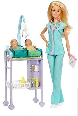 Barbie Careers~Baby Doctor Doll Playset~with 2 Baby Patients