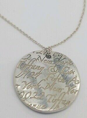 100% Guaranteed Authentic Tiffany & Co Notes Waves Round Pendant Necklace
