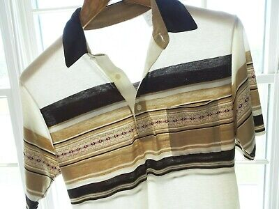 Vtg 70s 80s Cream Brown Tan Striped Hang Ten OP Retro Surf Skate Polo Shirt M L
