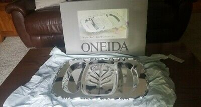 Oneida USA Silver Plated Footed Large 3 Section Serving Tray NEW IN BOX