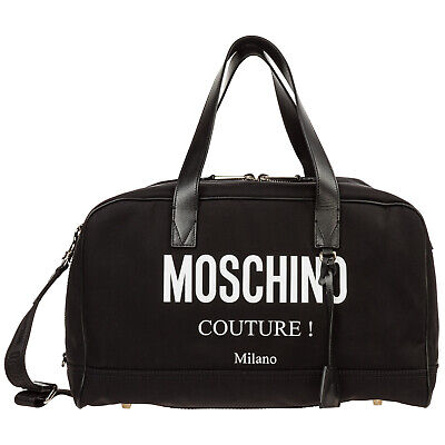 Moschino Borsone Viaggio Borsa Tracolla Weekend Nuovo Boston Nero 3Db