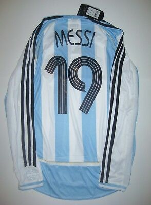 new product ca79f dc23e 2006-2008 NEW ADIDAS Argentina Lionel Messi Kit Long Sleeve Shirt Jersey  Home