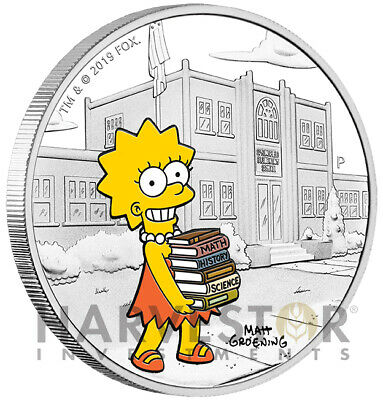 2019 The Simpsons - Lisa Simpson - 1 Oz. Silver Coin - With Ogp - Mintage 5,000