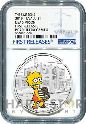 2019 The Simpsons - Lisa Simpson - 1 Oz. Silver Coin - Ngc Pf70 First Releases