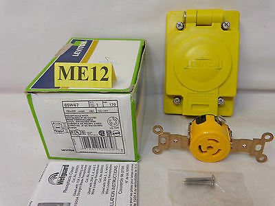 Leviton 65W47 Receptacle With Wetguard Ip 66 Cover 15A 125V L5-15R Yellow New