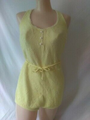 Vintage Catalina Black Label 1960s Yellow Swimsuit Size 12