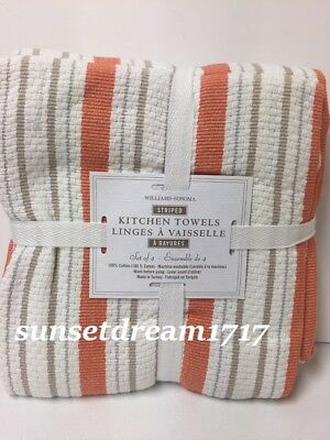Williams Sonoma RED Classic Striped Towels S//4