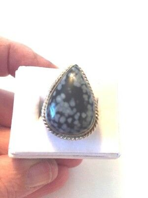 Stunning Vintage To Modern Estate Ring Size 6.5 Silver With Multicolored Stone