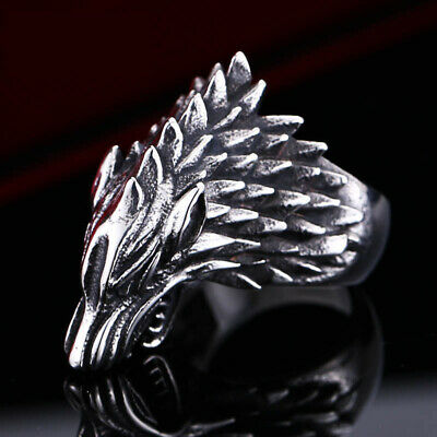 Mens 316L Stainless Steel Game of Thrones Wolf Mask Punk Band Rings Halloween