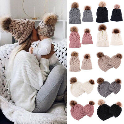 AU Mother Baby Kids Matching Knitting Wool Pom Bobble Hat Winter Warm Beanie Cap