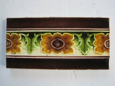 "ANTIQUE 6"" x 3"" MOULDED MAJOLICA GLAZED BROWN AND GREEN BORDER TILE - MARSDENS"