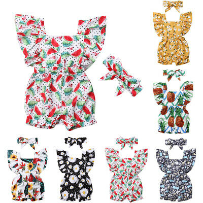 Toddler Newborn Baby Girls Ruffle Sleeve Romper Jumpsuit Headband Outfit Sunsuit