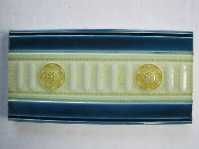 "Antique Victorian Pilkingtons Moulded And Glazed 6"" X 3"" Blue /Gold Border Tile"