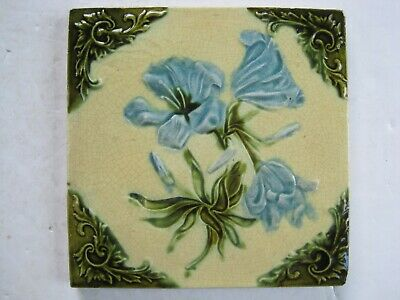 ANTIQUE RELIEF MOULDED ART NOUVEAU DESIGN TILE - AMBROSE BROOK - c1910 - 12