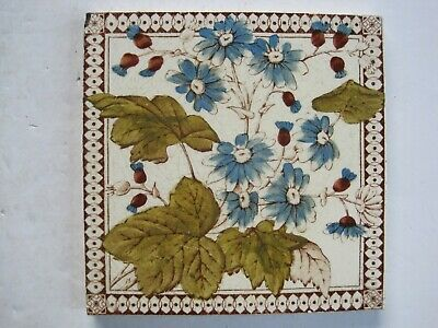 Antique Victorian Pilkingtons Blue Floral Print & Tint Wall Tile C1892-1909