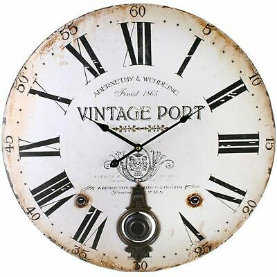 Large Vintage Port Wall Clock with Pendulum Home Decor Gift Kitchen Gift Time
