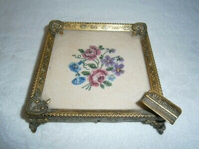 Vintage Embossed Metal Ash Tray With Petit Point Embroidered Centre Under Glass
