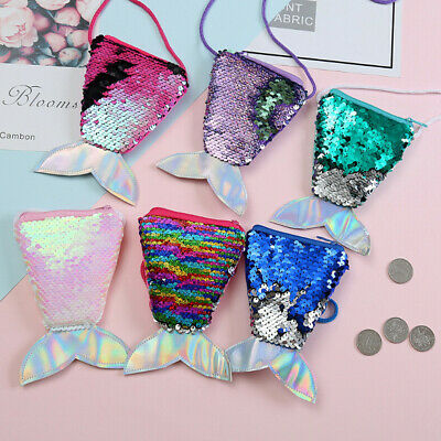 Girl Mermaid Tail Sequins Coin Purse and Wallet Bags Sling Card Handbag
