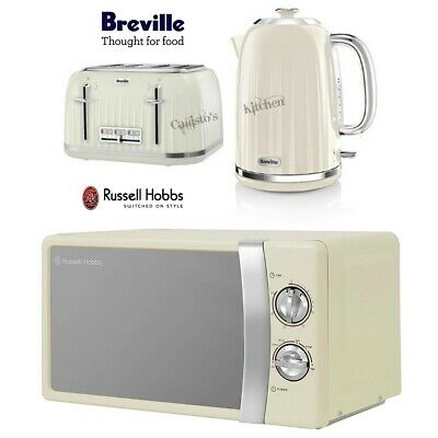 Breville Impressions Kettle and Toaster Set & Russell Hobbs Microwave Cream New