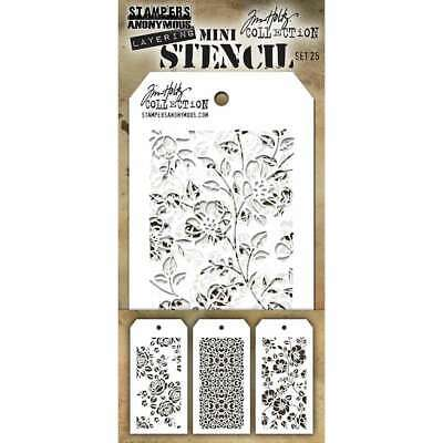Stampers Anonymous MST032 Tim Holtz Mini Layered Stencil 3//Pkg-Set #32