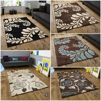NEW MODERN 120x170 cm ACRYLIC THICK LEAF & ROSE DESIGN RUG on Clearance Low Cost