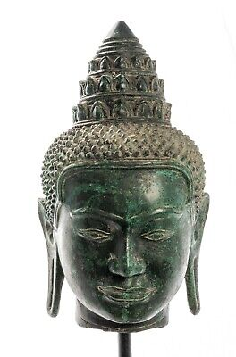 Antique Bayon Style Mounted Khmer Buddha Head - 44cm/18""