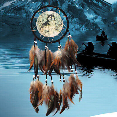 Brown Dream Catcher With feathers Wall Hanging Decoration Ornament Wolf Decor