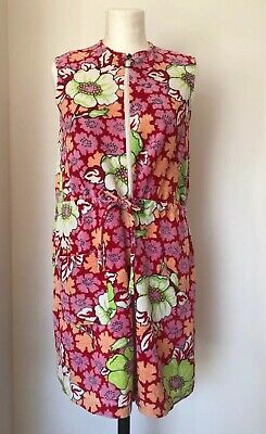 Vintage 60s 70s Flower Power Toweling Beach Dress Cover Up St Michaels M&S Fab