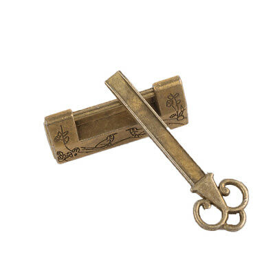 Chinese Vintage Antique Locks Old Style Lock and Key Brass Carved Word Padlock