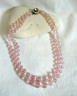 Collier ancien double rang ancien perles de verre rose fermoir strass vers 1950
