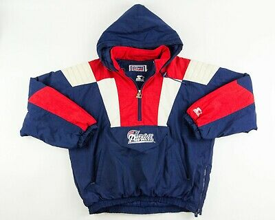 official photos aa145 20d11 VINTAGE STARTER JACKET New England Patriots Pullover 90's Front Pouch XL  RARE