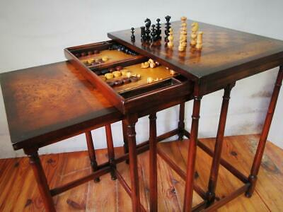 Antique Chess Backgammon Nest Of Table Plus Chess Set And Counters