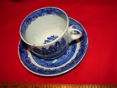 Antique Blue Willow Large Cup & Saucer Warranted Staffordshire W A K Co. England