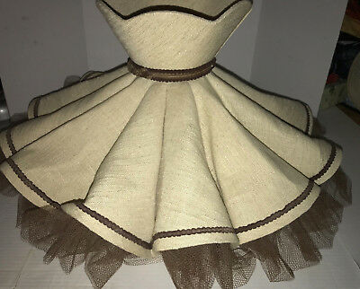 Vintage Fluted Lamp Shade, Fabric Netting, Victorian