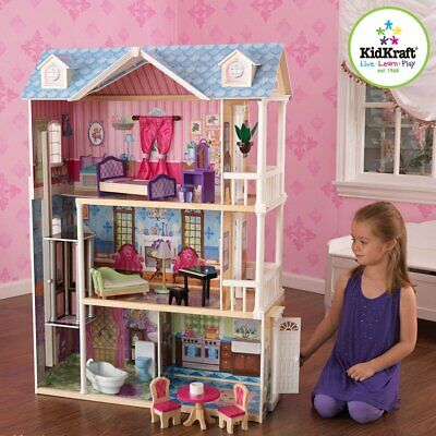 New KidKraft My Dreamy Dollhouse with Furniture Playing Dollhouse