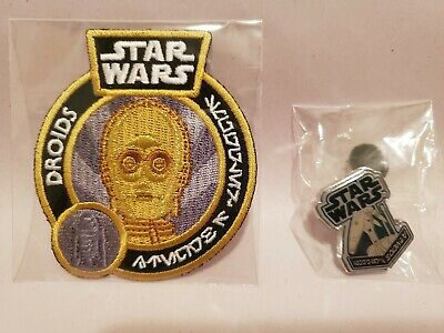 Funko Star Wars Smuggler's Bounty Droids Box C-3PO Patch / Battle Droid Pin