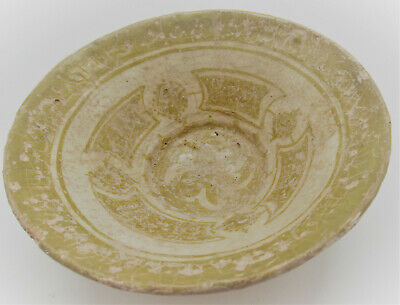 Ancient Islamic Glazed Pottery Bowl Circa 1300-1400Ad Seljuk Empire