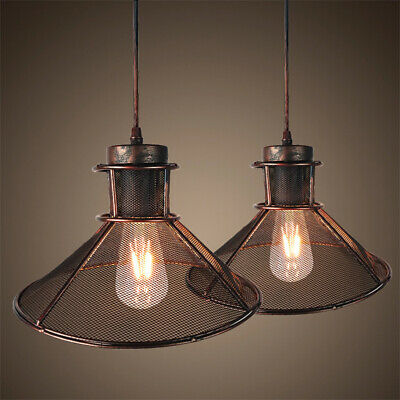 Kitchen Vintage Rust Hanging Light Pendant Wire Cage Ceiling Lamp E27 Corridor