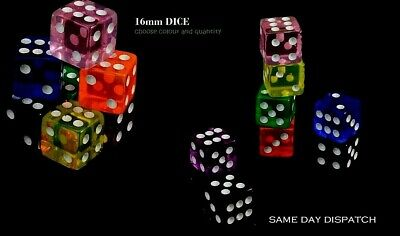 New Opaque 16mm 6 Sided Spot Dice Color D6 RPG for Ludo Monopoly Board Games UK