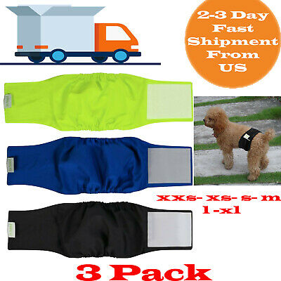 """3 Pack Washable Diapers For Male Dogs Reusable Belly Bands Small 13""""-17"""" Waist"""