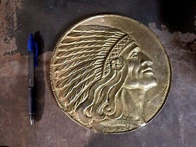 Iron Art, Cast Iron 8 3/4 Inch Indian Chief Plaque. Cast Metal. Art Deco