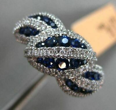 Estate 1Ct Diamond & Sapphire 14Kt White Gold Multi Leaf Etoile Handcrafted Ring